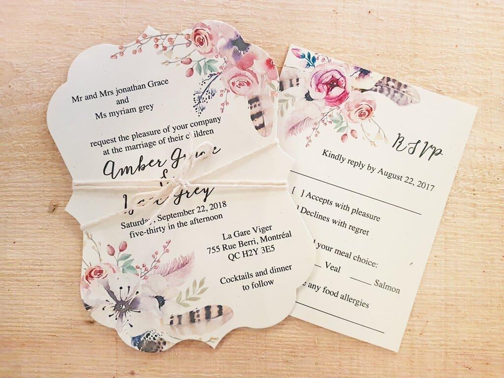 boho flower feather string tied die cut wedding invitation rsvp