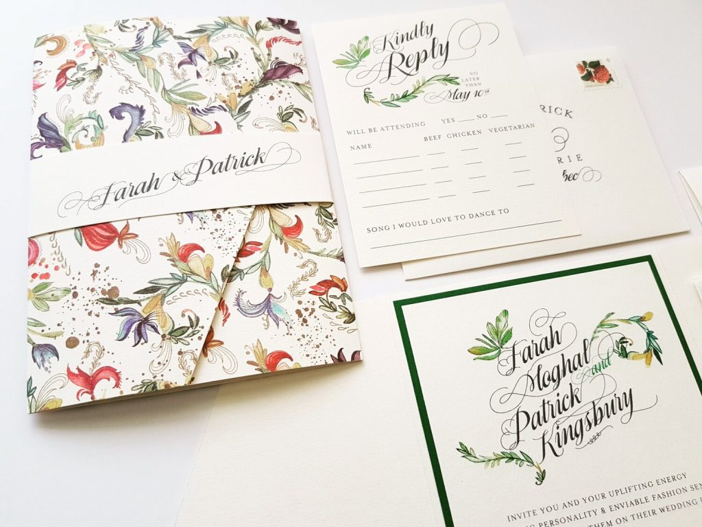 floral print wedding invitation montreal