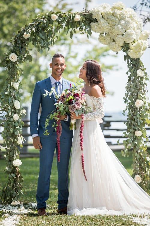 outdoor garden wedding flower arch pointe du moulin montreal