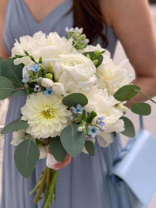 white and blue wedding bridal bouquet