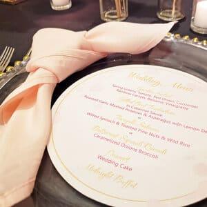 circle wedding menu, glass charger plate montreal