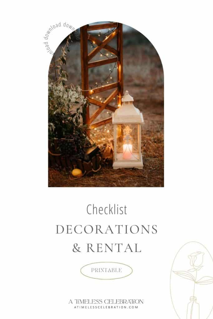 Wedding Decorations Rentals Checklist