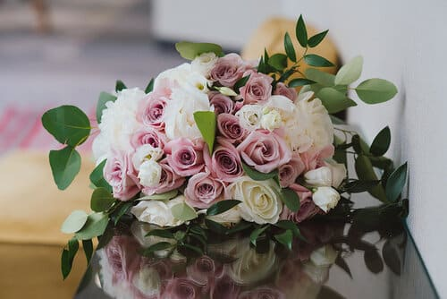dusty pink rose and white bridal bouquet