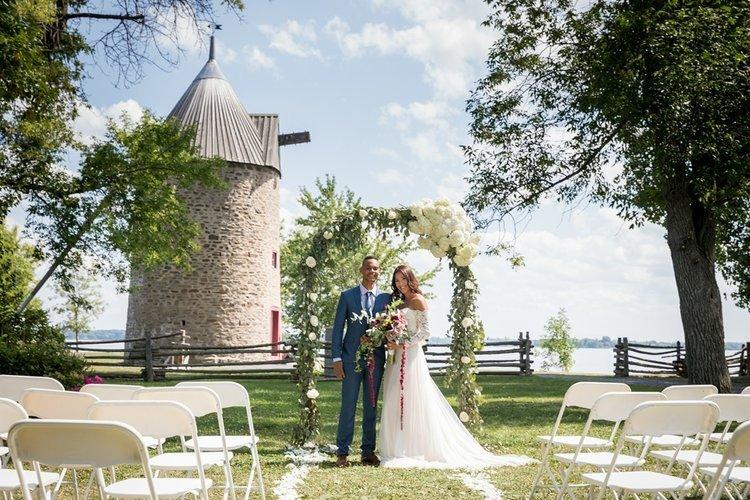 outdoor wedding ceremony garden study pointe du moulin