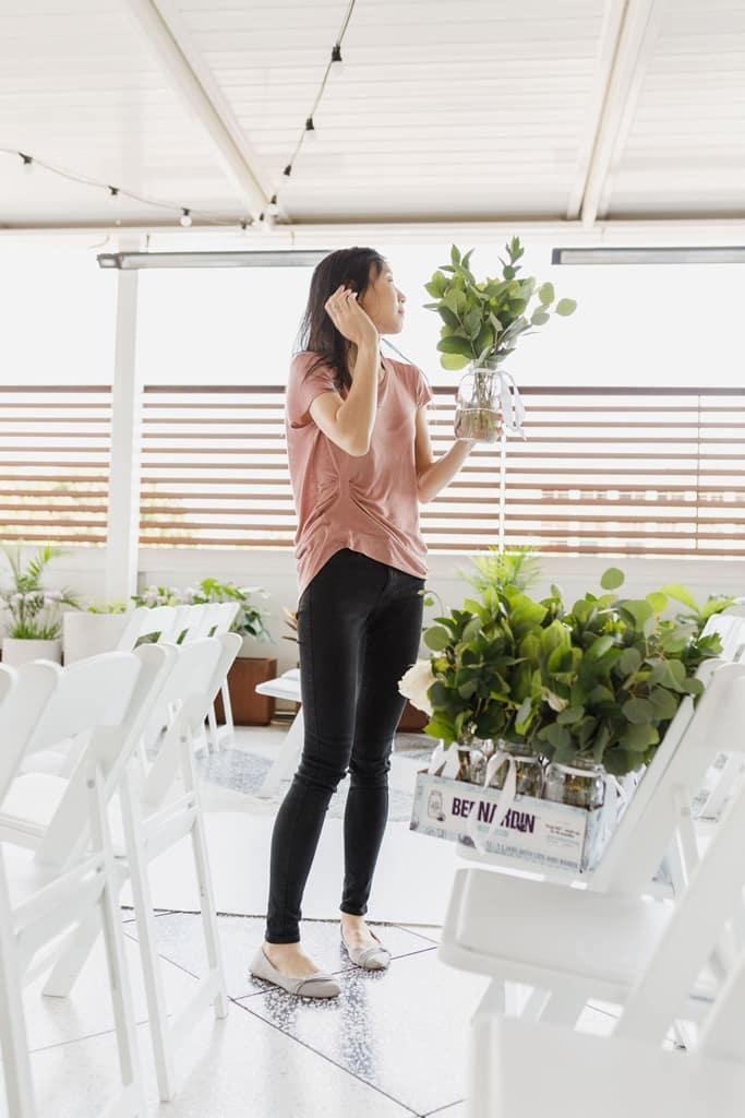 wedding floral designer setup